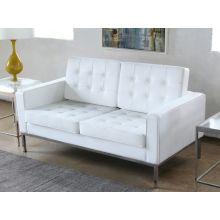 White Leather Button Tufted Knoll Style Loveseat
