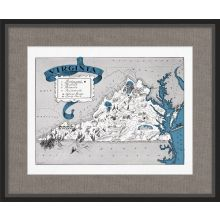 Illustrated Map of Virginia 26W x 21.5H