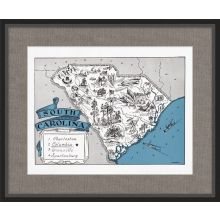 Illustrated Map of South Carolina 26W x 21.5H
