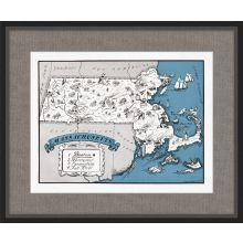 Illustrated Map of Massachusetts 26W x 21.5H
