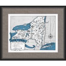 Illustrated Map of New York 26W x 21.5H
