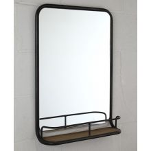 Garland Mirror with Steel Tube Frame and Wood Shelf