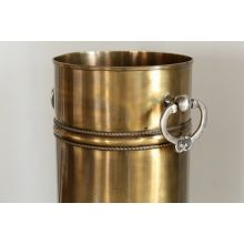 Antique Brass Umbrella Stand with Silver Ring Handles