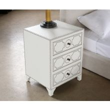 White Leather 3 Drawer Nightstand with Brass Nailhead
