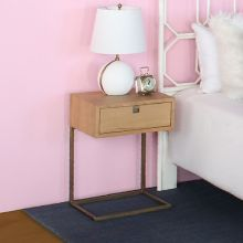 Natural Oak Nightstand W/Satin Brass Legs