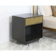 Iron Nightstand With Perforated Brass Drawer