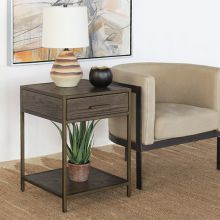 Oak Nightstand W/Rubbed Bronze Frame