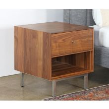 Walnut Nightstand With Stainless Base