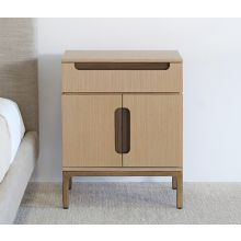 Light Laminated Oak With Brass Hardware Nightstand