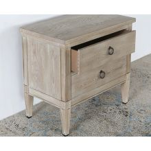 Washed Elm Nightstand With 2 Drawers