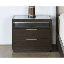 Sable Brown Oak 2 Drawer Nightstand With Brass Pulls