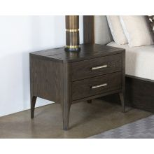 Sable Brown Nightstand With Brass Pulls