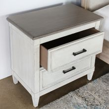 Antique White 2 Drawer Nightstand With Wood Top