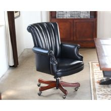 Black Leather Channel Back Executive Chair
