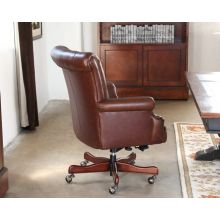 Coffee Leather Channel Back Executive Chair