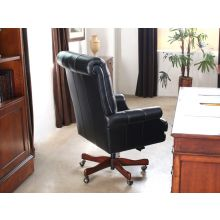 Black Leather Tufted Executive Chair