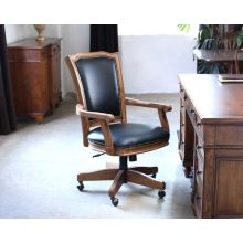 Wood Frame Black Leather Rolling Office Chair