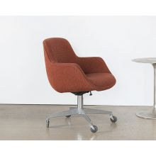 Vintage Rust Brown Upholstered Office Chair
