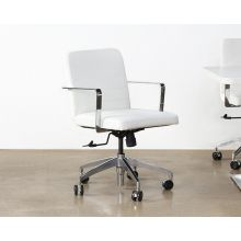 White Leather & Chrome Conference Chair On Casters