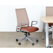 Dove Grey Conference Chair With Saddle Brown Seat