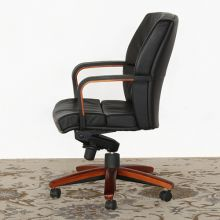 Black Leather Conference Chair With Wood Base