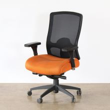High-Back Black Mesh And Orange Office Chair