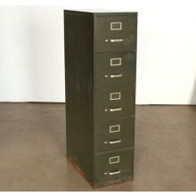 5 Drawer Green Office File Cabinet