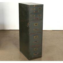 Vintage 5 Drawer Green Office File Cabinet