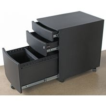 Rolling Black 3 Drawer Filing Cabinet