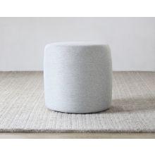 Button Ottoman in Light Gray