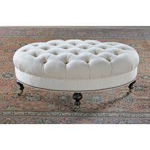 Tufted Oval Ottoman in Linato Cream