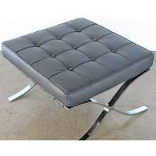 Gray Leather Barcelona Style Ottoman