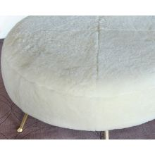 Ivory Shearling Cocktail Ottoman