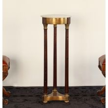 Cupid Pedestal with Marble Top in Cognac Finish