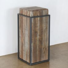 Acacia Wood Pedestal With Iron Frame
