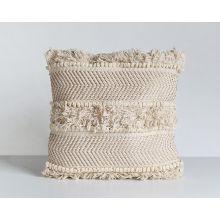 White Copper Fringe Pillow