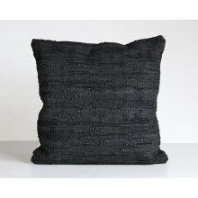 Stitch Black Leather Pillow