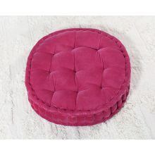 Vivid Pink Tufted Round Floor Pillow
