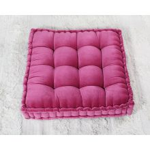 Vivid Pink Tufted Square Floor Pillow