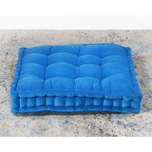 Vivid Blue Tufted Square Floor Pillow