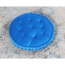 Vivid Blue Tufted Round Floor Pillow