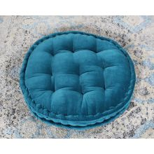 Vivid Teal Tufted Round Floor Pillow