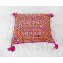 Fuchsia & Saffron Floor Pillow With Tassels