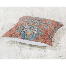 Terracotta & Blue Tribal Pillow