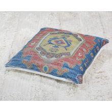 Saffron, Orange & Blue Tribal Pillow