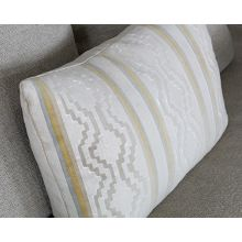 Saffron And Grey Vertical Striped Kidney Pillow