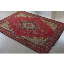 "9'7"" x 12'7"" Wine Red Tabriz Persian Rug Circa 1965"