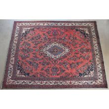 "10'5"" x 13'2"" Pale Red Hamedan Persian Rug Circa 1965"