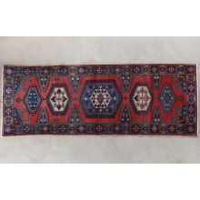 "3'8"" x 10'2"" Red and Blue Azerbaijani Persian Runner Circa 1965"
