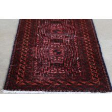 "2'9"" x 10'4"" Brick Red Turkmen Persian Runner Circa 1965"
